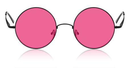 Okrągłe okulary hippie z różową soczewką
