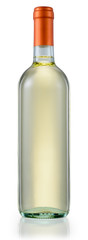 White wine bottle isolated. With clipping path