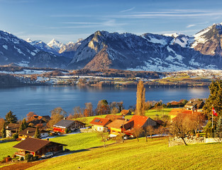 Thun lake region rural view in winter morning