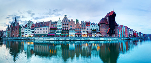Panorama of Gdansk old town and Motlawa river, Poland
