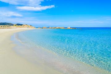 Beautiful Villasimius beach and azure sea water, Sardinia island