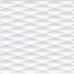 White wave  seamless texture. 3D Vector pattern.