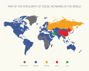 Map of the popularity of social networks in the world