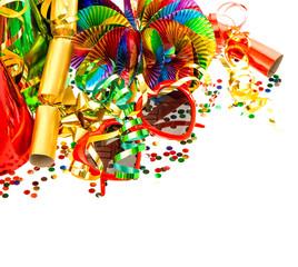 colorful garlands, streamer and confetti