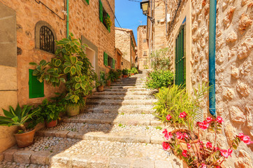 Buildings in famous Fornalutx village, Majorca island, Spain