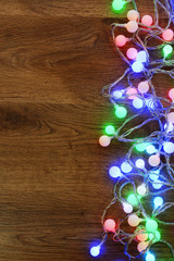 Christmas garland on floor close-up