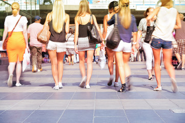 Swedish pedestrians walking in central Stockholm
