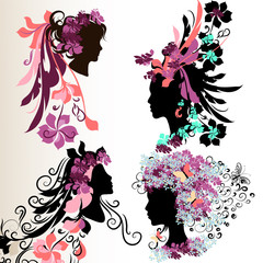 Fashion abstract female face silhouettes with floral hairstyle