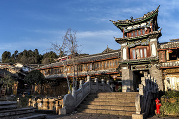 Traditional Building at the Sifang jie in Lijiang,Yunnan, China