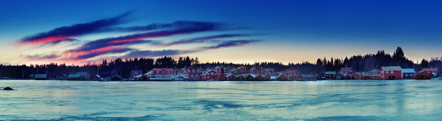 Fisherman village at winter