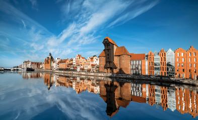 Panoramę Gdańska, widok na rzekę