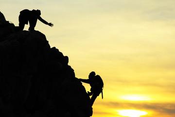 climbing silhouette&helping hands