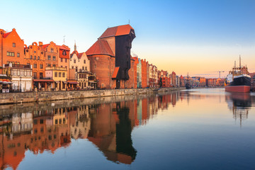 Polish old town Gdansk with medieval crane