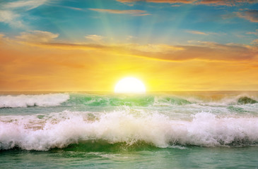 Fantastic sunrise on the ocean
