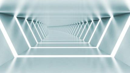 Abstract 3d empty illuminated light blue shining bent corridor