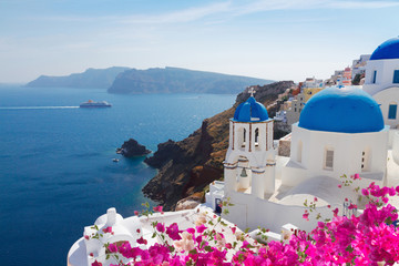 view of caldera with blue domes, Santorini