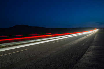 fast driving car trials at night,long exposure blurred effect