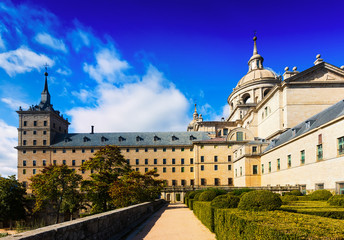 Royal Palace  in sunny autumn day.  El Escorial