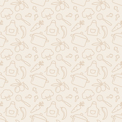 Kitchen seamless pattern. Vector background.