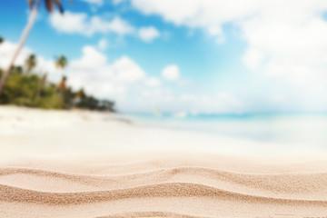 Empty sandy beach with sea