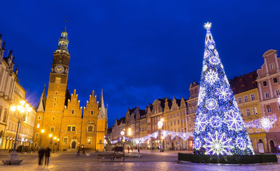 Wroclaw market square at night in Christmas time