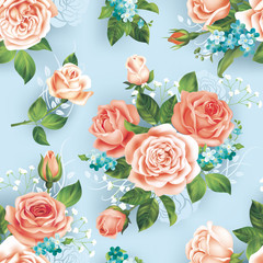 Seamless blue pattern with roses. Vector illustration.