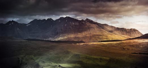 Mountain range on the Isle of Skye, UK