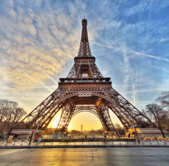 Wide shot of Eiffel Tower with dramatic sky, Paris, France