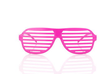pink 80's slot glasses front view isolated on white background