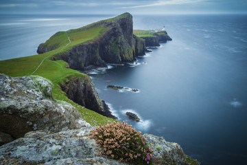 Neist point lighthouse on a cloudy day, Isle of Skye, Scotland, UK