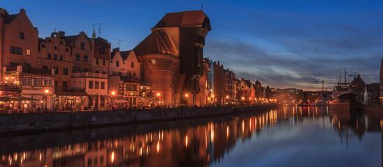 Gdańsk - Night panorama of quays Motława