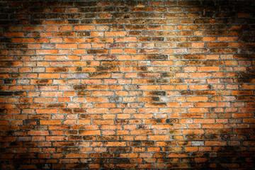grunge background, red brick wall texture bright plaster wall and blocks road sidewalk