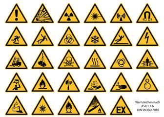 Warnzeichen nach DIN EN ISO 7010 und ASR 1.3