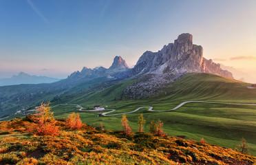 Krajobrazowa natury góra w Alps, dolomity, Giau