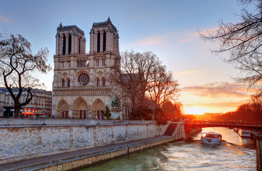 Paris - Notre Dame at sunrise, France