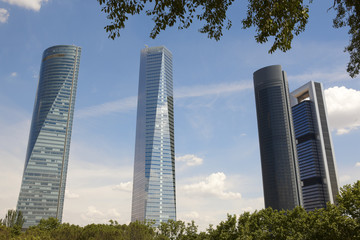 Four towers skyscrapers finance area in Madrid, Spain