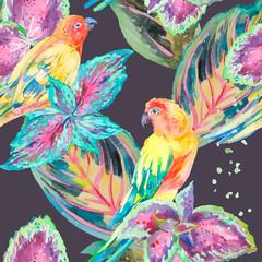 Akwarela Papugi. Tropikalny kwiat i liście.