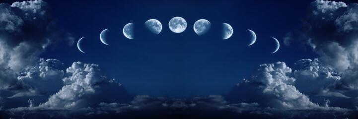 Dziewięć faz pełnego cyklu wzrostu księżyca