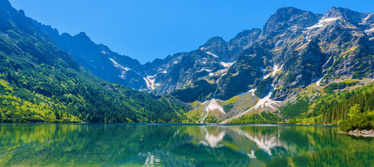 Panoramic view of green water Morskie Oko lake, Tatra Mountains, Poland