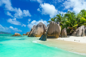 Anse Source d'Argent - Beach on island La Digue in Seychelles