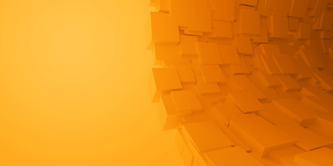 Abstract orange cubes background, 3d illustration.