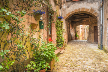 Corners of Tuscan medieval towns in Italy