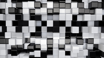 black and white 3D boxes