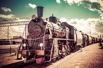 Old steam locomotive, vintage train.