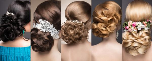 Kolekcja fryzur ślubnych. Piękne dziewczyny. Piękne włosy.