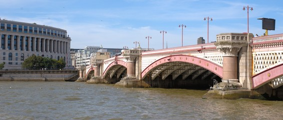 View on Blackfriars bridge and river Thames in London from the south bank