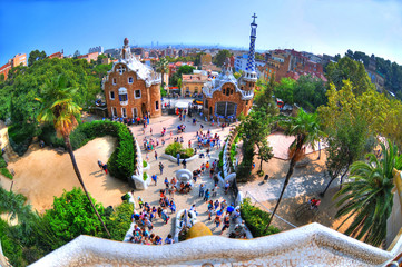 BARCELONA SPAIN, Sep 26: HDR image The Ginger bread house in Park Guell, which was designed by Gaudi. The photo was taken with a fisheye lens at Sep 26, 2014 in Barcelona, Spain