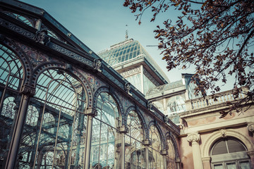 Crystal Palace (Palacio de cristal) in Retiro Park,Madrid, Spain
