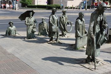 Detail of the monument of an anonymous passerby in Wroclaw (Poland).