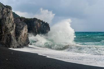 A big wave breaking on the cliff, near Maratea